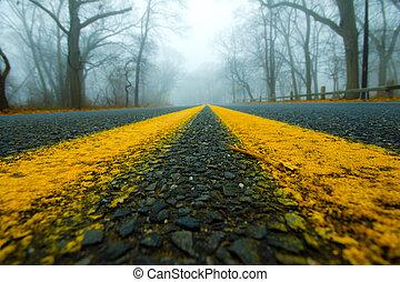 nebuloso, estrada, manhã