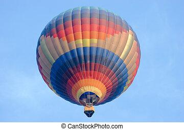 nebuloso, manhã, balão ar quente