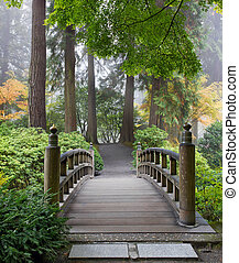 nebuloso, manhã, em, madeira, ponte pé, em, jardim japonês
