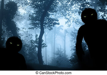 nebuloso, monstros, dois, paisagem, floresta