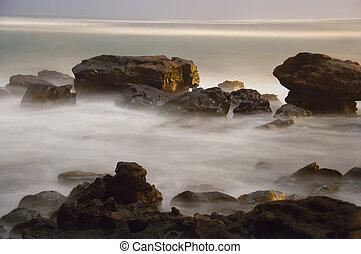 nebuloso, névoa, mar, oceânicos
