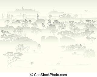 nebuloso, vale, árvores, farm.