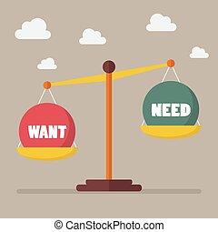 necesidad, escala del balance, necesidad