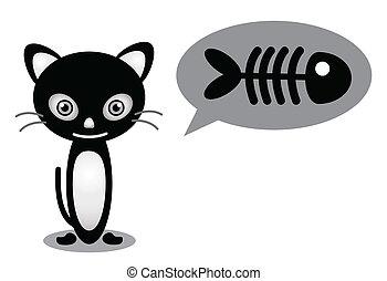 necesidad, pez, gato
