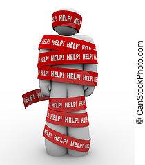 necesidades, ayuda, persona, cinta, envuelto, rojo, rescate