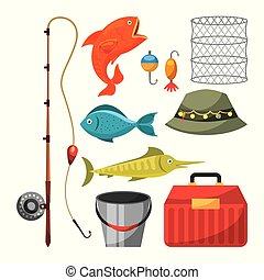 Necessary fishing objects icon vector illustration design graphic