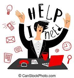 necessidades, gerência, negócio, help., executiva, vetorial, tempo, ou, secretária