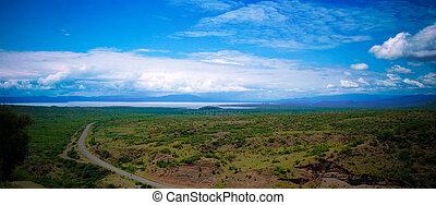 nechisar, minch, panorâmico, nacional, chamo, lagos, parque,...