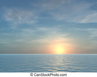 nechráněný, obrazný, moře, východ slunce, grafické pozadí