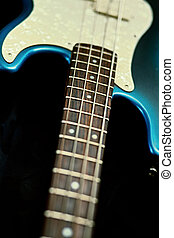 Neck and body of a bass guitar - A neck and body shot of an...