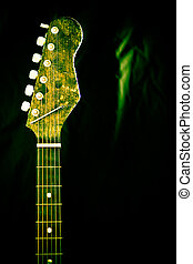 Neck and strings of guitar - The neck and strings of a...