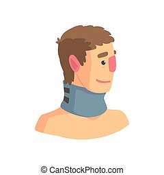 Neck brace used to treat cervical spine problems cartoon vector Illustration