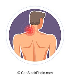 Neck injury pain or ache isolated icon medicine and healthcare