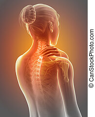 Neck pain - Woman having a painful neck - visible spine