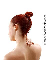 female with neck pain holding nape isolated