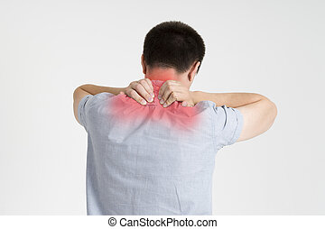 Neck pain, man with backache on gray background