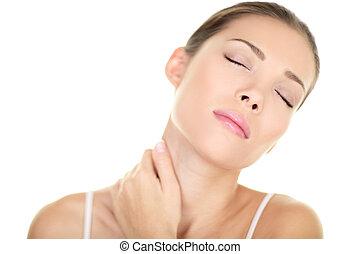 Neck pain muscle stress - Asian woman massaging
