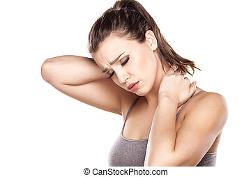 neck pain - beautiful young woman has a pain in the neck