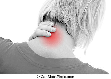 Neck pain - A woman suffering pain on her neck