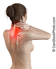 Neck pain - Woman having a painful neck - visible muscles