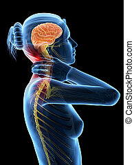 Neck pain - Woman having a painful neck - visible nerves
