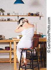 Neck pain, woman suffering from backache