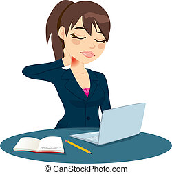 Neck Pain Working - Brunette office worker suffering neck...