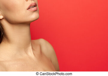 neck, shoulder, and lips