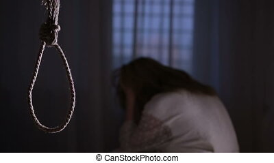 neck., suicide., girl, fond, boucle