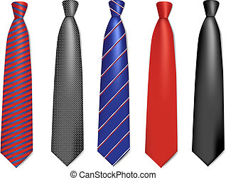 Neck ties collection. Set. Colorful vector illustration