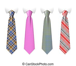 Neck ties vector templates with plaid texture design