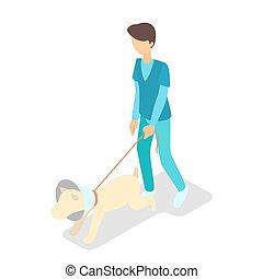 neck., vétérinaire, chien, cône