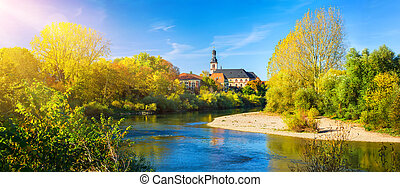 Neckar River, Germany, on a nice autumn day - Panorama of an...