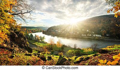 Neckar river landscape, Germany