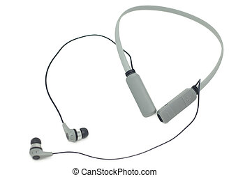 Neckband Wireless Earbuds over white background.