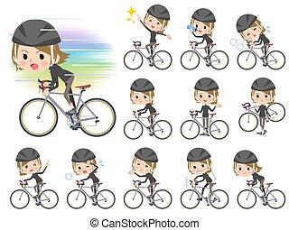 necked, kort, fiets karen, rijden, hoog, zwart haar, vrouwen
