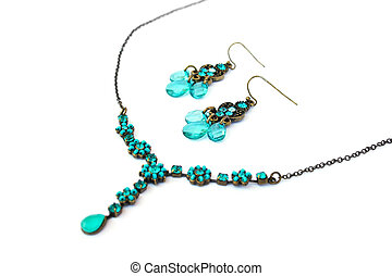 Necklace and earrings - Necklaces and earrings isolated on...