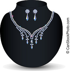 necklace and earrings women's wedding with precious stones