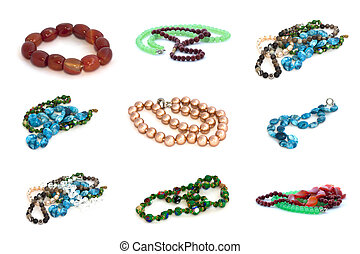 Necklace collage isolated on white background