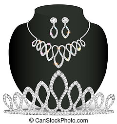 necklace diadem and earrings with white precious stones -...