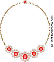 Necklace with five colors of pearls and rubies on a gold...