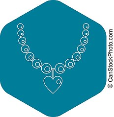 Necklace icon, outline style
