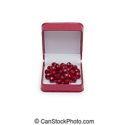 necklace in jewelry box on white background