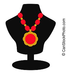 Necklace Jewelery on Display Icon - This illustration...