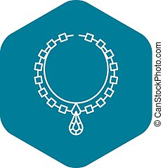 Necklace jewelry icon, outline style