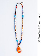 necklace made of natural materials in the style of Buddhism