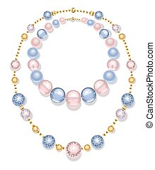 necklace of blue and pink beads
