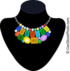 Necklace of colored stones