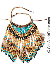 Necklace of wooden beads with feathers