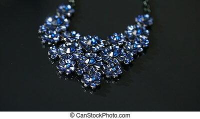 Necklace on a black background
